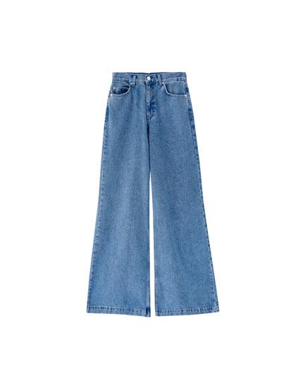 Medium wash wide-leg jeans