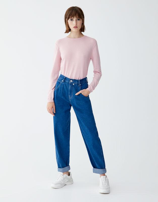 Luźne Jeansy Z Wysokim Stanem by Pull & Bear