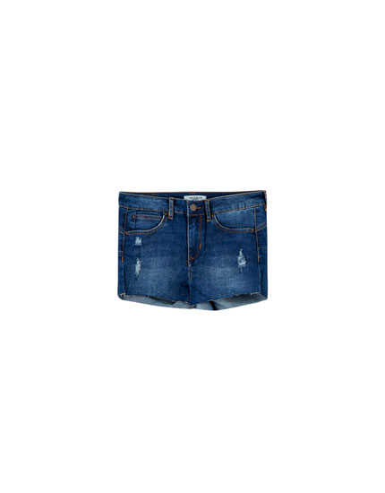 Denim push-up short met halfhoge taille