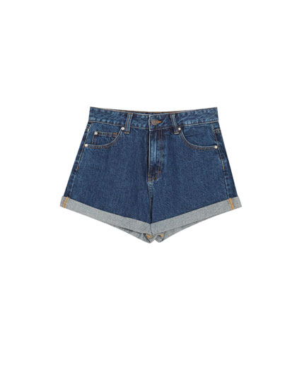 Denim mom fit shorts with rolled up hem