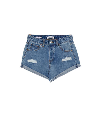 Denim short mom fit met scheuren
