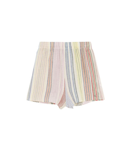 Multicoloured striped Paradise shorts