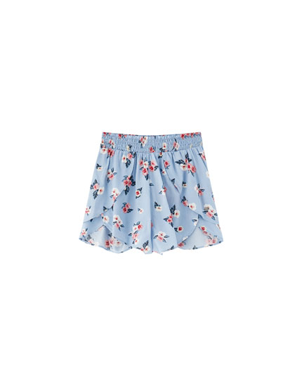 Sky blue printed layered shorts