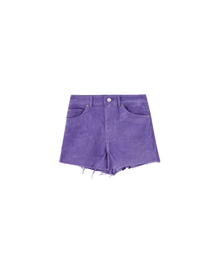 Corduroy shorts with frayed hems