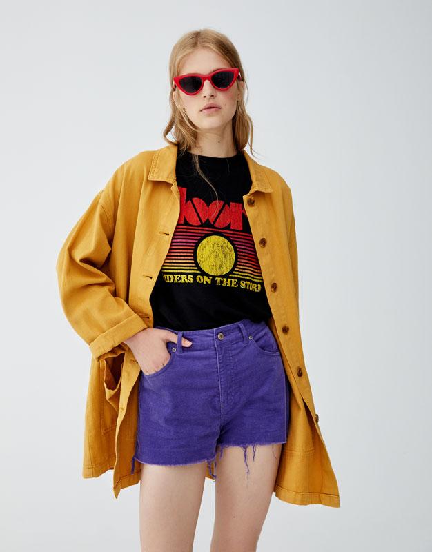 Shorts Aus Cord Mit Ausgefranstem Saum by Pull & Bear