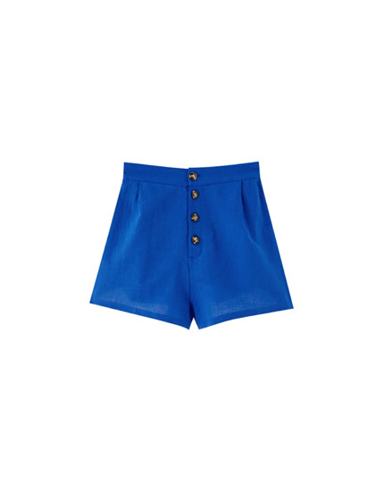 Blue shorts with buttons