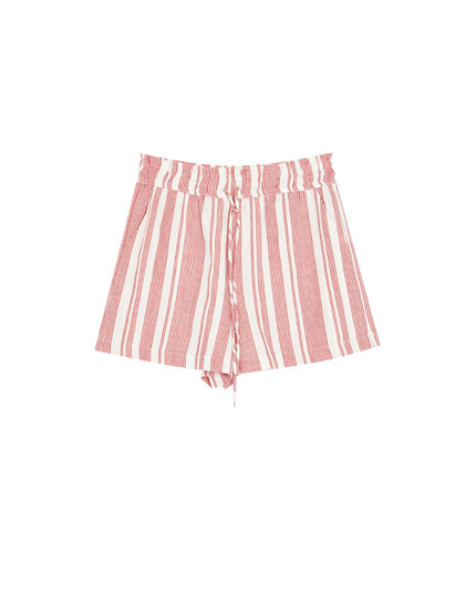 Multi-stripe drawstring Bermuda shorts