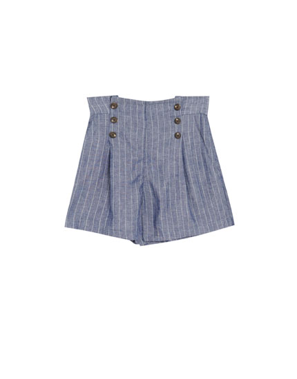 Striped linen Bermuda shorts with front buttons