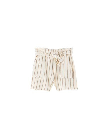 Striped shorts with tie belt