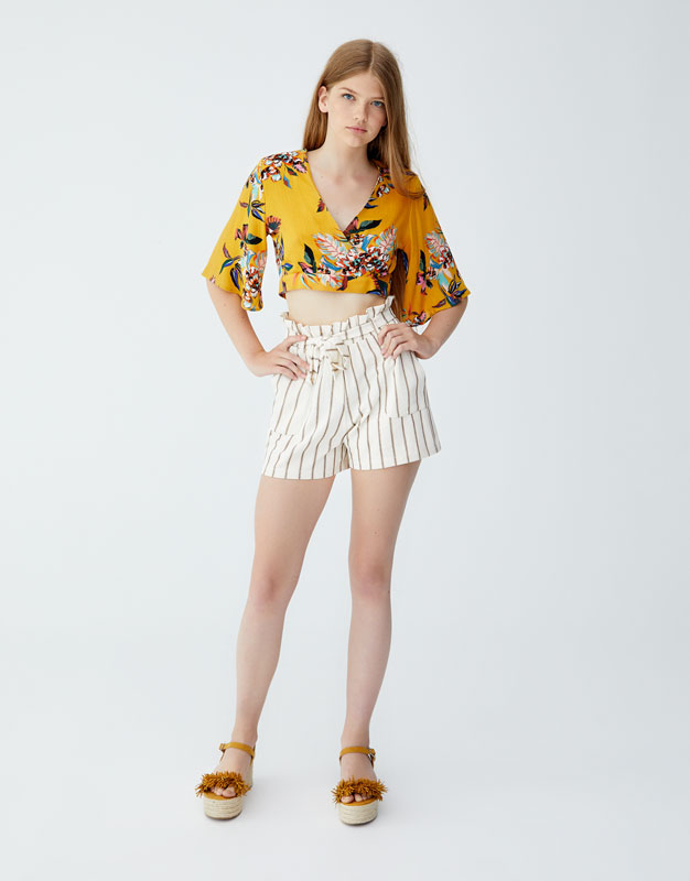 Striped Shorts With Tie Belt by Pull & Bear