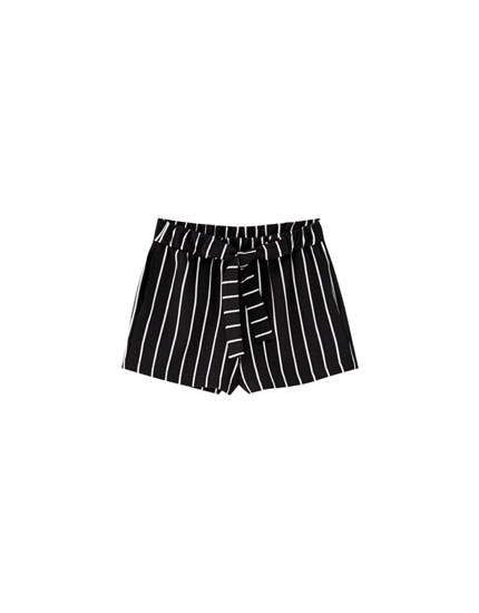 Tailored striped shorts with bow