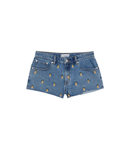 Mom fit denim short met ananasjes