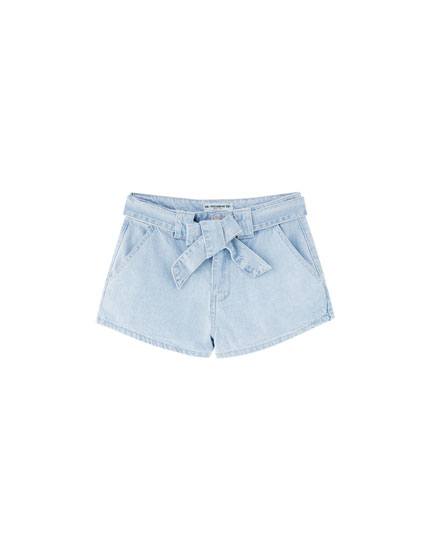 Denim short met strik