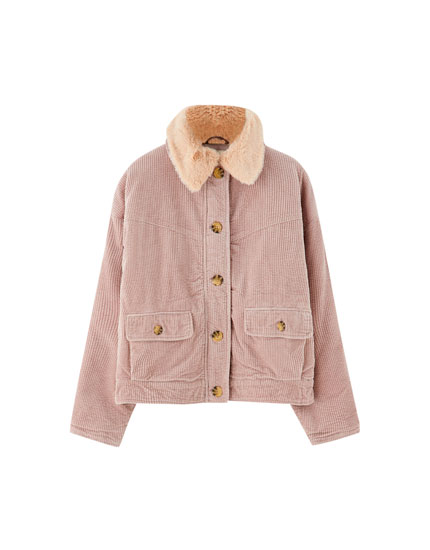 Corduroy jacket with faux fur detail