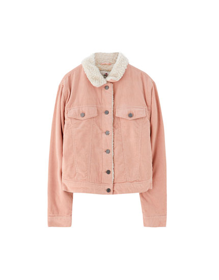 Pink corduroy jacket with faux shearling collar