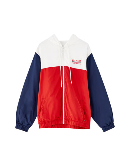 Hooded colour block windbreaker