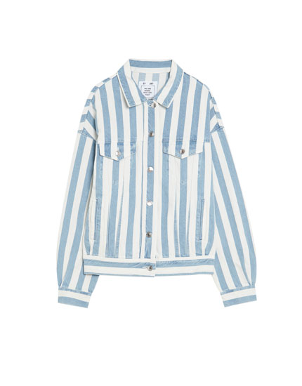 Oversized striped denim jacket