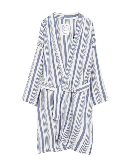 Long striped kimono jacket