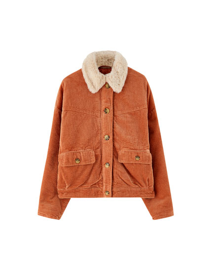Corduroy jacket with faux fur collar