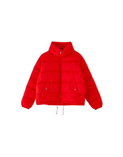 Quilted jacket with high neck