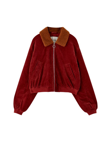 Short corduroy jacket with faux shearling collar