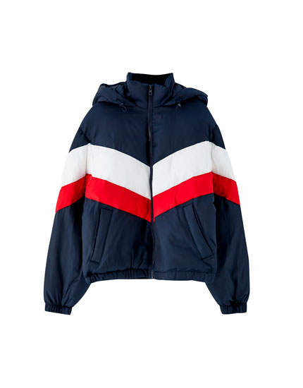 Panelled puffer jacket