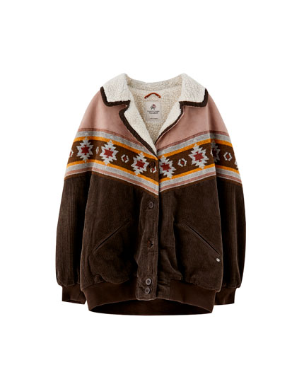 Tribal print corduroy jacket