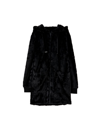Long hooded faux fur jacket