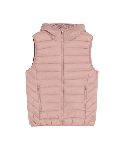 Quilted gilet with hood