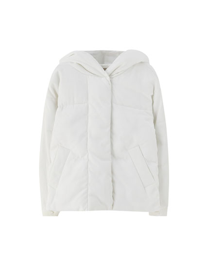 Puffer jacket with wraparound hood