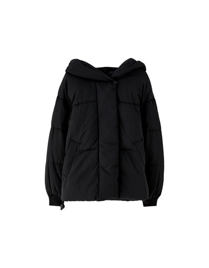 Puffer jacket with wraparound hood