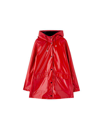 Hooded patent finish raincoat