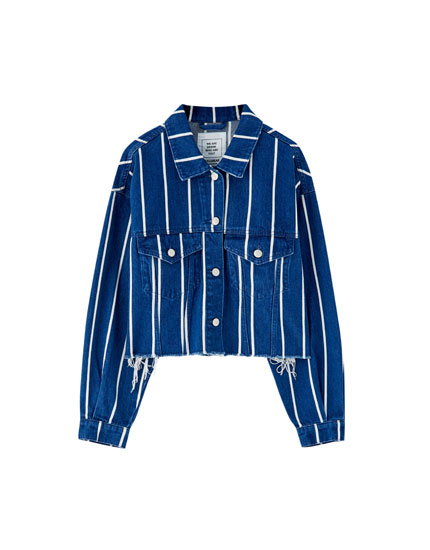 Cropped denim jacket with stripes