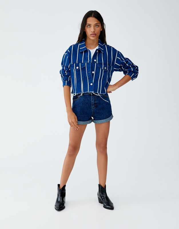 Cropped Denim Jacket With Stripes by Pull & Bear