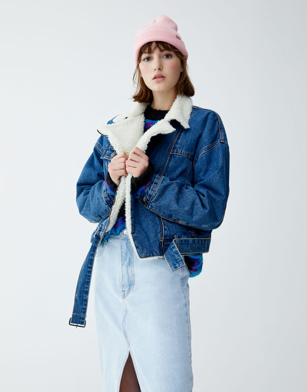 Blouson Court Denim Mouton Synthétique by Pull & Bear