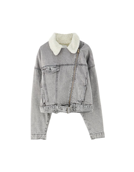 Cropped faux shearling denim jacket