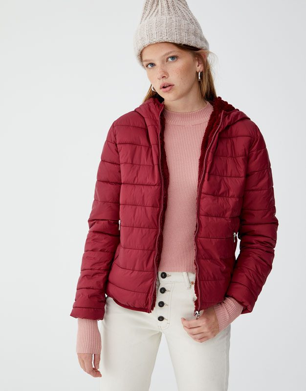Reversible Quilted Jacket With Faux Fur Pullbear
