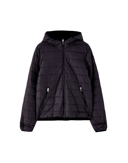 Reversible quilted jacket with faux fur