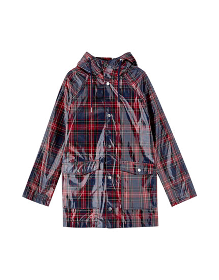 Checked hooded raincoat
