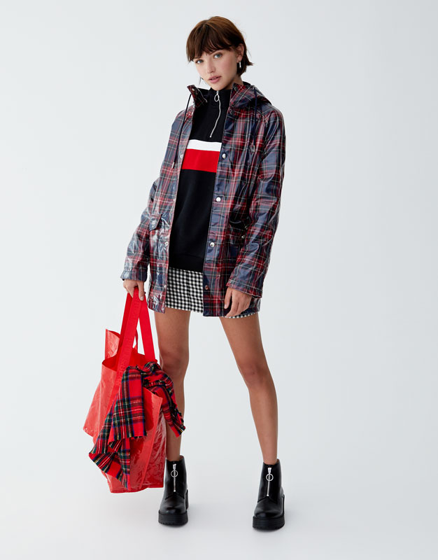 Checked Hooded Raincoat by Pull & Bear