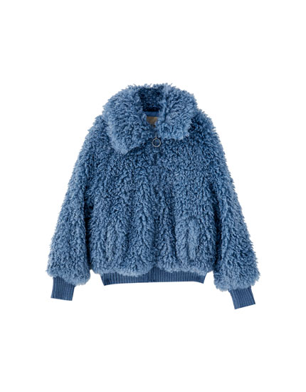 Faux fur jacket with shirt collar