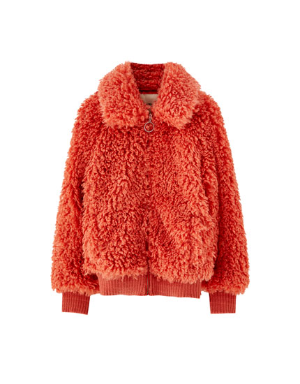 Faux fur jacket with collar