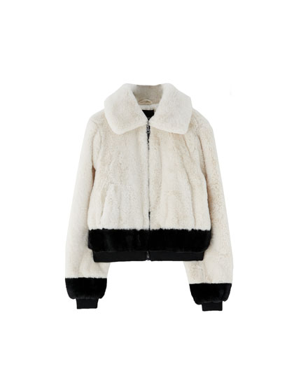 Faux fur jacket with stripe