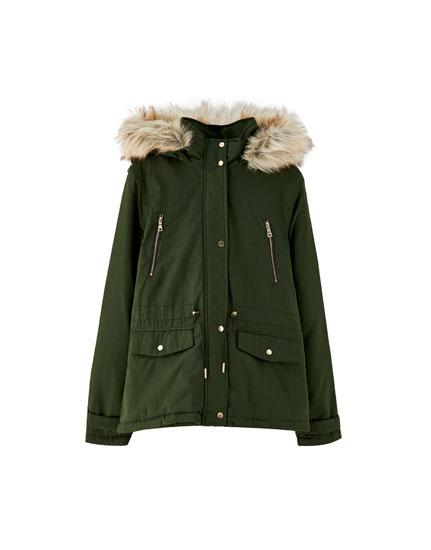 Jachetă parka blană falsă la glugă