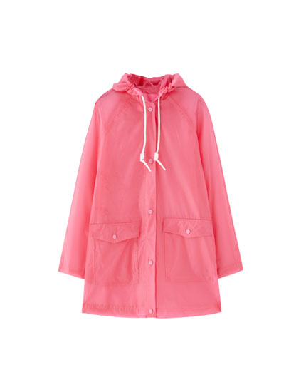 Drawstring hood raincoat