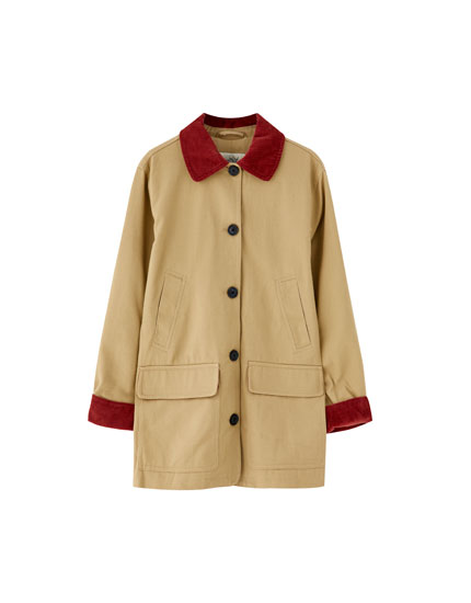 Beige worker jacket with corduroy collar