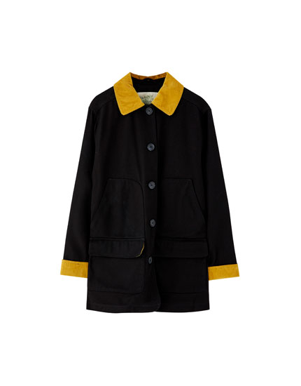 Black worker jacket with corduroy collar