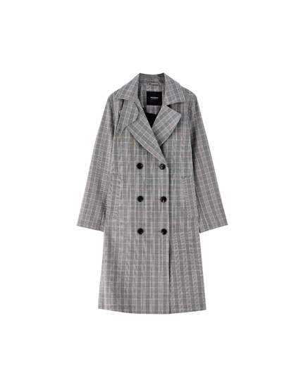 Check double-breasted trench coat