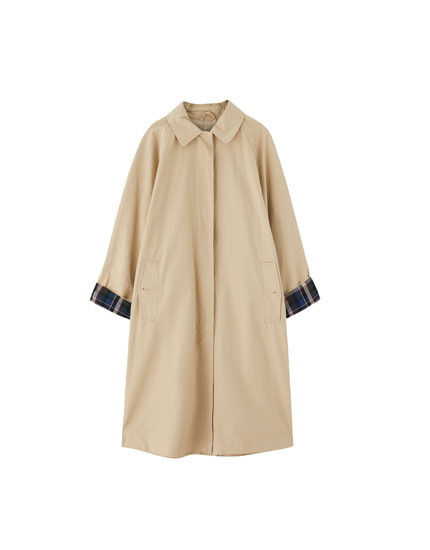 Long trench coat with contrasting checked cuffs