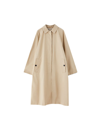 Long trench coat with contrasting cuffs